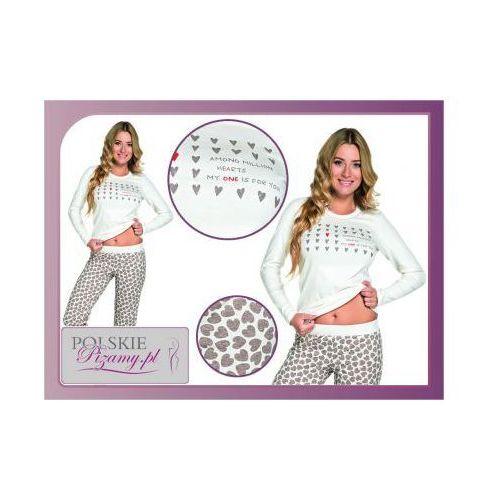 Piżama damska AMOR: śmietankowa biel + brąz