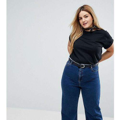 Asos curve t-shirt in boyfriend fit with rolled sleeve and curved hem - black