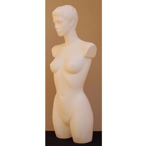 Manekin plastikowy - tors kobiecy długi z głową, biały, rozm. 36 biust B