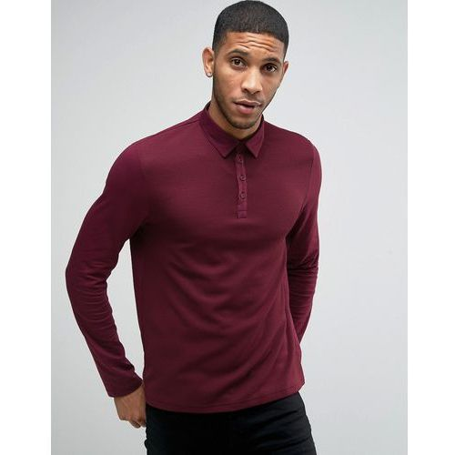 textured long sleeve polo shirt in burgundy - red od producenta River island