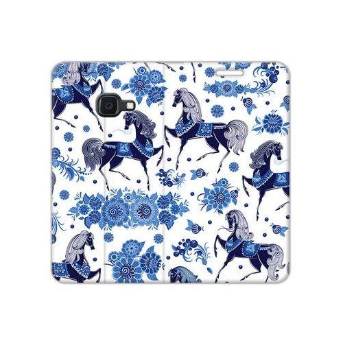 Samsung Galaxy Xcover 4S - etui na telefon Flex Book Fantastic - folkowe niebieskie konie