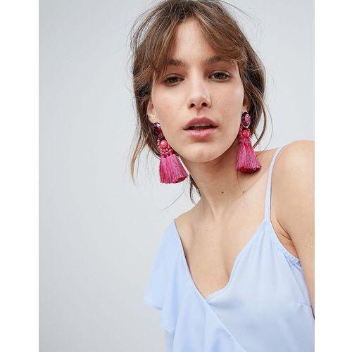 gem and tassel earrings - pink marki Ivyrevel