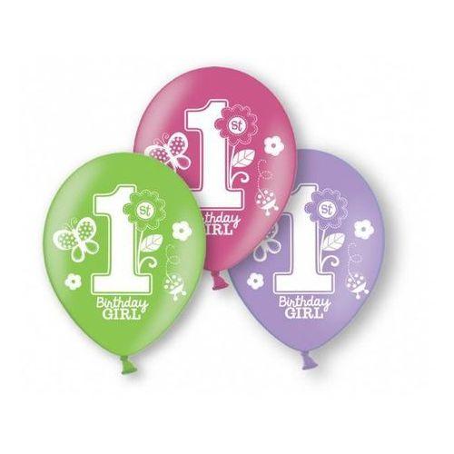 Balony na roczek 1st birthday dla dziewczynki - 6 szt. marki Amscan