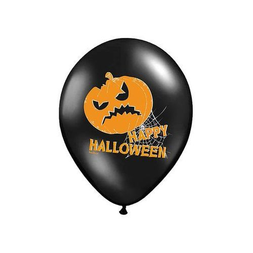 Balony czarne na halloween - dynie - 37 cm - 5 szt. marki Party deco