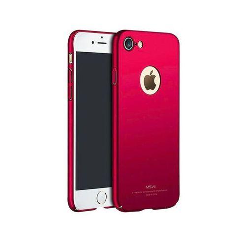 Msvii Etui thin case apple iphone 7 czerwone z wycięciem +szkło - czerwony