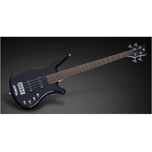 Rockbass corvette basic 4-string, black solid high polish, active, fretted, short scale gitara basowa