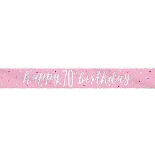 Unique Baner happy birthday różowy na 70 urodziny - 274 cm - 1 szt.