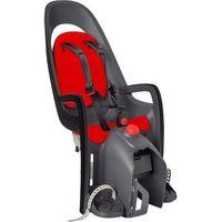 Fotelik rowerowy caress ciemnoszary czerwona wyściółka, z adapterem na bagażnik marki Hamax