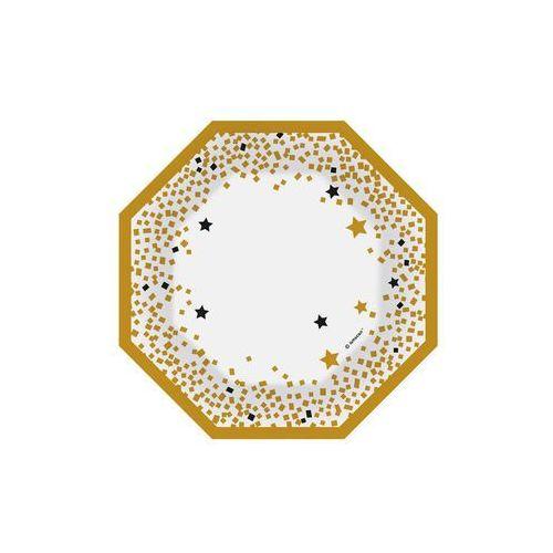 Amscan Talerzyki papierowe ośmiokątne złote - 18 cm - 6 szt. (0013051763770)