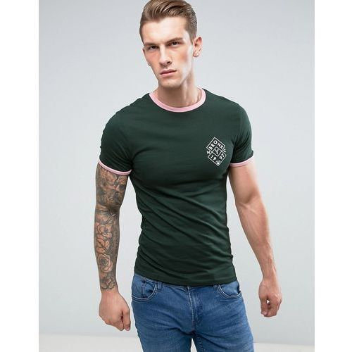 River island  muscle fit ringer t-shirt with bronx motif in green - black