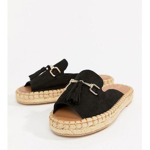 River Island Wide Fit espadrille loafer with tassel front - Black