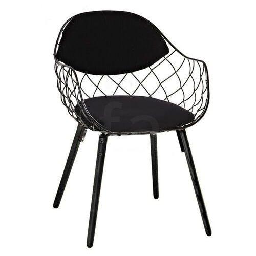 Sofa.pl Krzesło demon czarne - metal, ekoskóra, podstawa drewniana