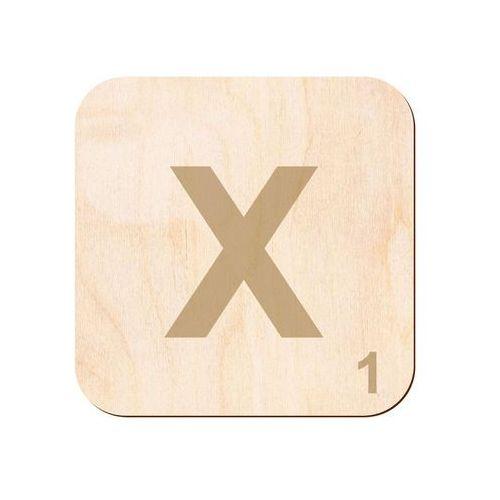 Drewniana dekoracja na ścianę scrabble - literka X (5907509931932)