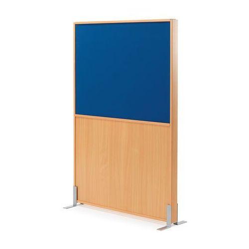 Ścianka działowa duo, 1000x1500 mm, buk, niebieska tkanina marki Aj produkty