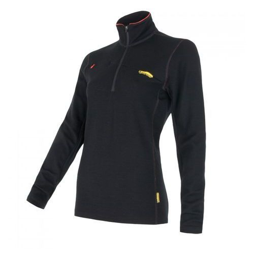 Bielizna termoaktywna Merino Wool Upper Women's Sweatshirt Short Zipper Czarny L