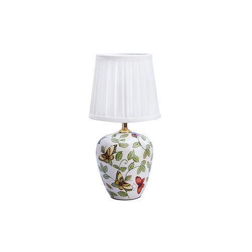 Ceramiczna LAMPA stołowa MANSION 107039 Markslojd abażurowa LAMPKA klasyczna wzorki retro motyle biały