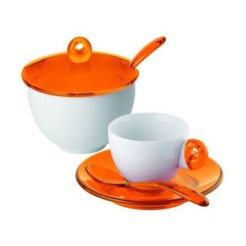 Guzzini - komplet 2 filiżanek do espresso i cukiernica - Art & Cafe - pomarańczowe - pomarańczowe