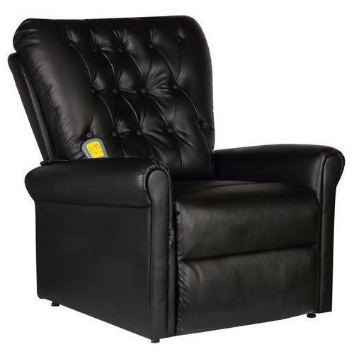 vidaXL Masujący fotel elektryczny z czarnej eko-skóry