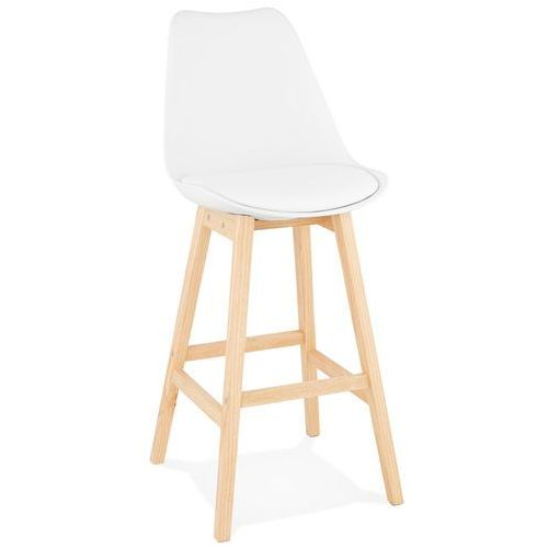 Kokoon design Hoker z oparciem ekoskóra i drewno biały 102 cm