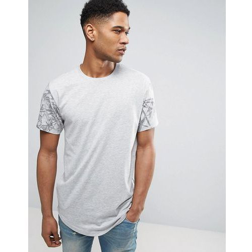 Only & sons longline t-shirt with curved hem and raglan printed sleeve - grey