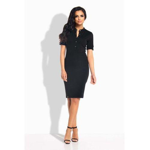 Czarna Sukienka Dopasowana przed Kolano z Guzikami, w 3 rozmiarach