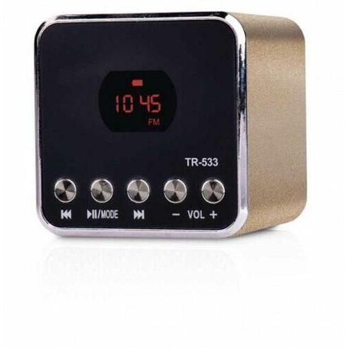 Przenośny odtwarzacz multimedialny Radio FM USB MP3 SOUNDBOX EMGO TR533B złoty E0068