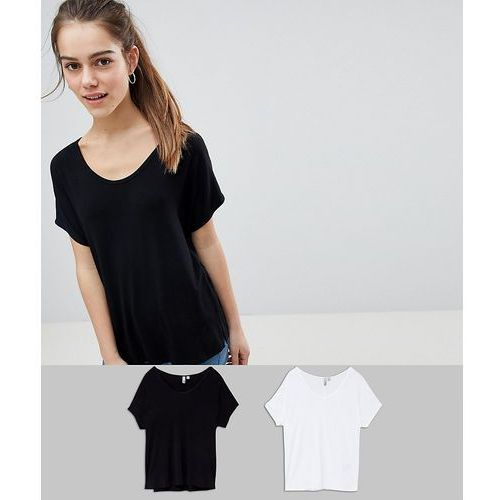 ASOS DESIGN Petite t-shirt with drapey batwing sleeve 2 Pack - Multi