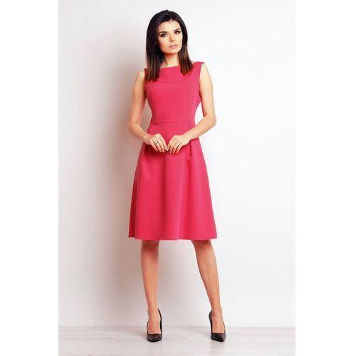 Różowa Elegancka Midi Sukienka na Szerokich Ramiączkach, WM097pi