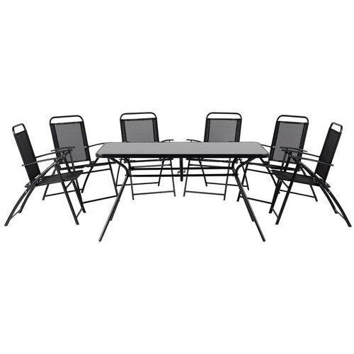Beliani Meble ogrodowe czarne - balkonowe - stół z 6 krzesłami - stal - livo (4260580929986)