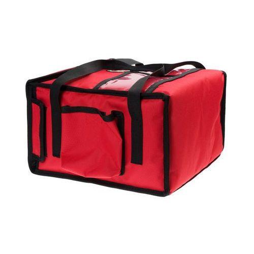 Podgrzewana torba wykonana z kodury na 4 kartony do pizzy o wymiarach 350x350 mm, ze stelażem, czerwona z czarną lamówką   FURMIS, T4S PU