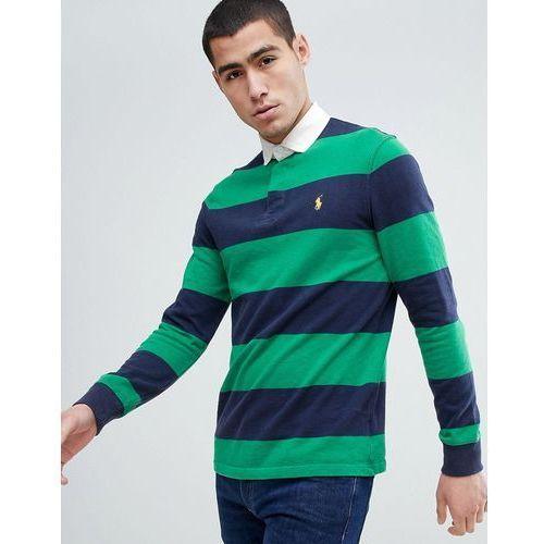 Polo Ralph Lauren Long Sleeve Stripe Rugby Polo Contrast Collar in Green/Navy - Green, kolor zielony