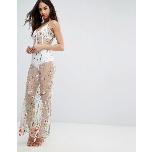 Boohoo Floral Embroidered Maxi Dress - White