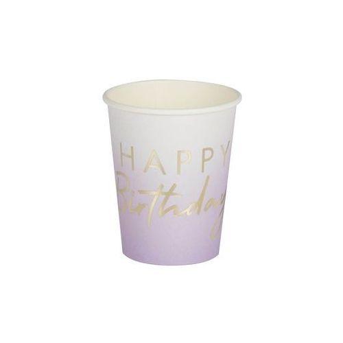 Kubeczki urodzinowe fioletowe ombre happy birthday - 270 ml - 8 szt. marki Ginger ray