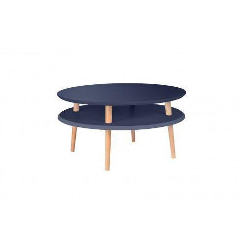 Ragaba Mały stolik kawowy drewniany ufo niski -kolor grafitowy/ kolor nóg naturalny buk