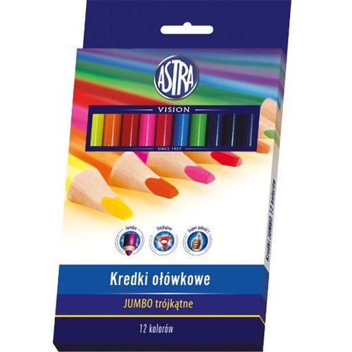 Astra Kredki ołówkowe 12 kolorów trójkątne jumbo + zakładka do książki gratis