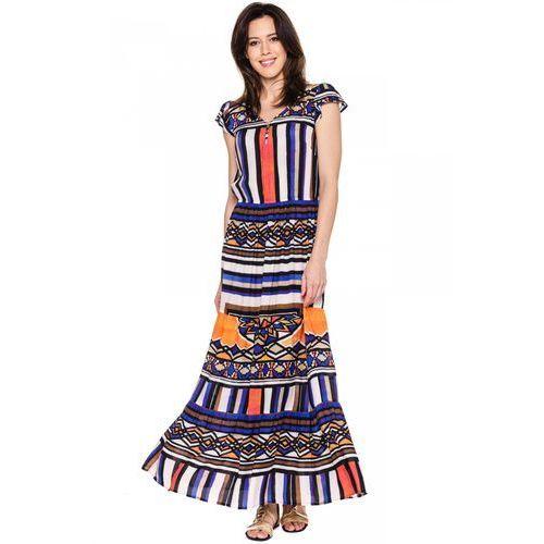 Sukienka maxi w etniczny wzór - Metafora, 1 rozmiar