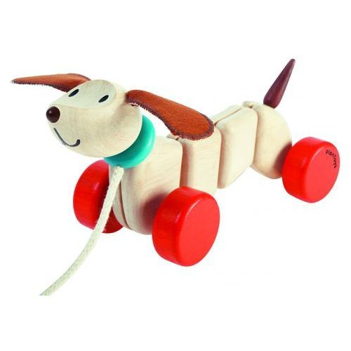 Szczęśliwy piesek do ciągnięcia od producenta Plan toys