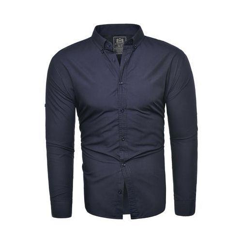 Gładka koszula męska (RL54) - granatowa, koszula (RL54) - granatowa