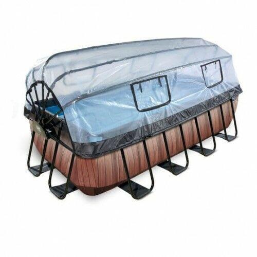 Basen wood brązowy prostokątny 400 x 200 cm składany dach drabinka pompa filtrująca marki Exit