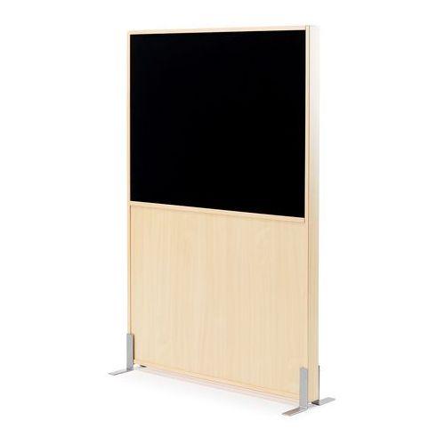 Ścianka działowa Duo, 1000x1500 mm, brzoza, czarna tkanina, 127813