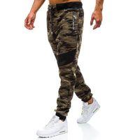 Spodnie męskie dresowe joggery moro zielone Denley TC873, dresowe