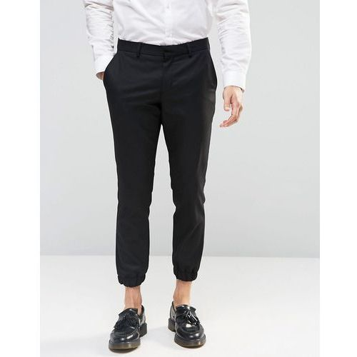 Selected Homme Cropped Skinny Fit Trousers with Stretch and Cuffed Hem - Black, kolor czarny