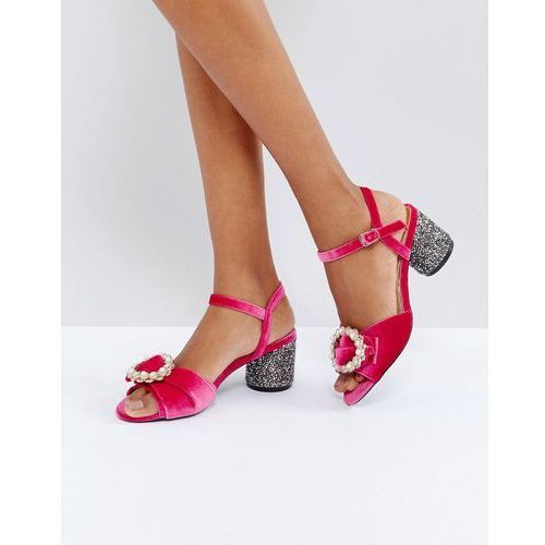 brooch applique glitter block heel sandals - pink marki River island