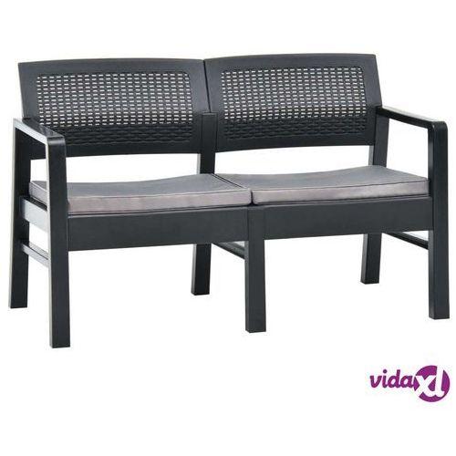 2-os. ławka ogrodowa z poduszkami, 120 cm, plastik, antracyt marki Vidaxl