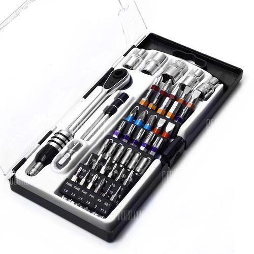 46pcs jackly ht03449cr dual-end ratchet hexagonal socket screwdriver kit od producenta Gearbest