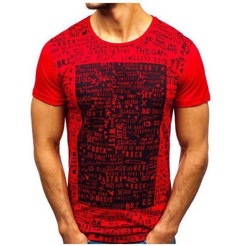 T-shirt męski z nadrukiem czerwony Denley 1173