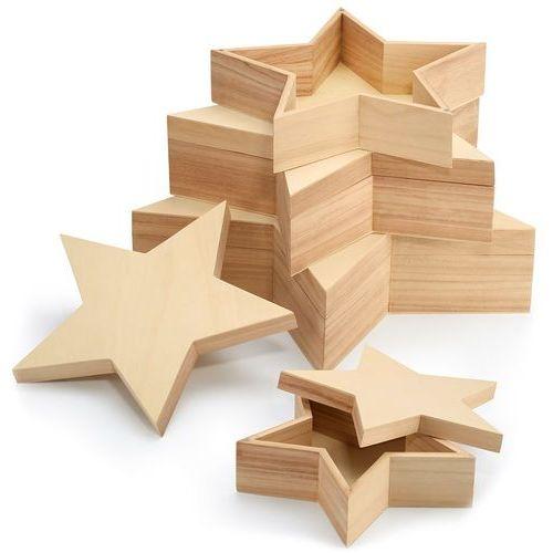Pudełka drewniane w kształcie gwiazdy Big Star Philippi 4 sztuki (P121010), 121010