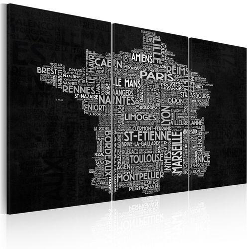 Obraz - Text map of France on the black background - triptych - produkt z kategorii- Fototapety