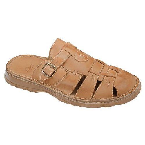 Klapki buty 962 beżowe - beżowy ||brązowy marki Łukbut