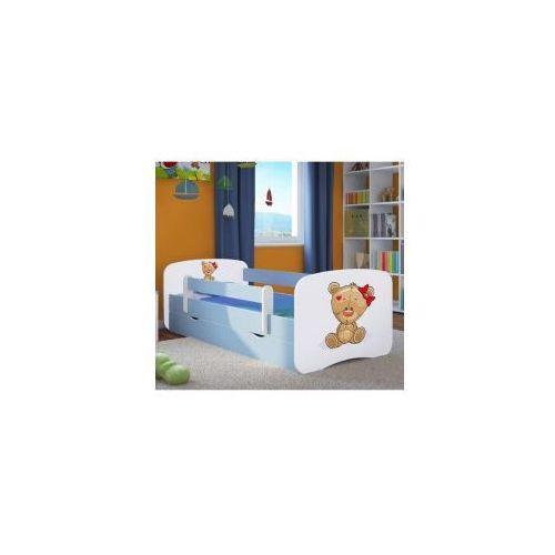 Łóżko dziecięce z materacem MIŚ z KOKARDKĄ, biało-niebieskie
